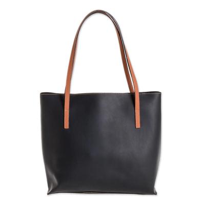Bonded Leather Shoulder Bag in Black from El Salvador