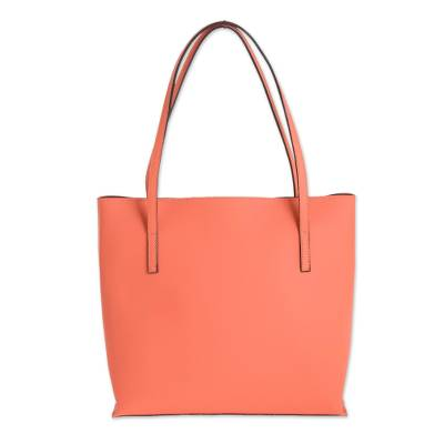Bonded Leather Shoulder Bag in Solid Peach from El Salvador
