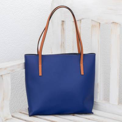 Bonded leather shoulder bag, Sublime Style in Sapphire