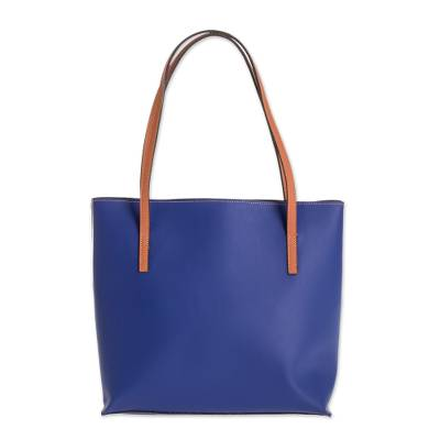 Bonded Leather Shoulder Bag in Sapphire from El Salvador