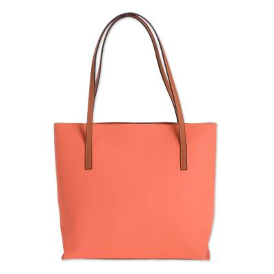 Bonded Leather Shoulder Bag in Peach from El Salvador