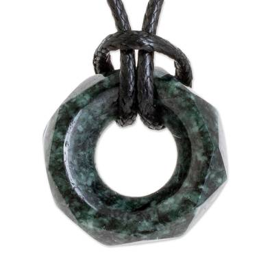 Faceted Dark Green Jade Pendant Necklace from Guatemala
