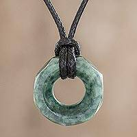 Jade pendant necklace, 'Green Ancestral Treasure'