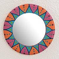 Wood wall mirror, 'Round Color'