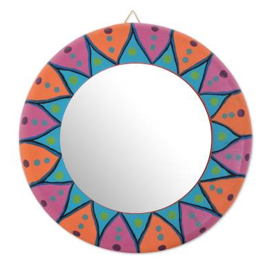 Wood wall mirror, 'Round Color' - Round Hand-Painted Wood Wall Mirror from Guatemala