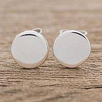Sterling silver stud earrings, 'Moonlight Simplicity' - High-Polish Round Sterling Silver Stud Earrings