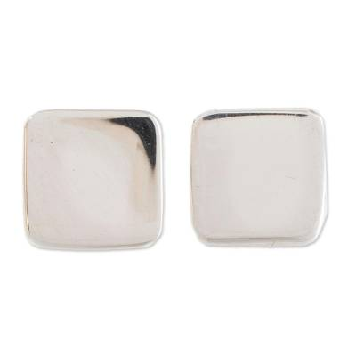 Sterling silver stud earrings, 'Square Simplicity' - High-Polish Square Sterling Silver Stud Earrings