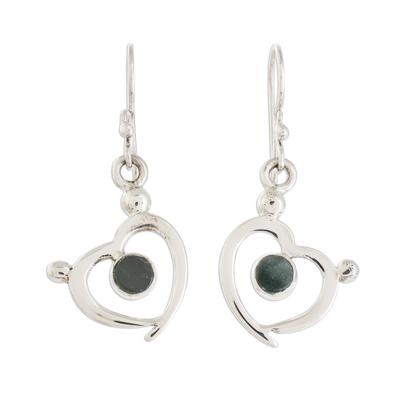 Jade dangle earrings, 'Ancestral Hearts' - Heart-Shaped Green Jade Dangle Earrings from Guatemala