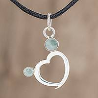 Jade pendant necklace, 'Ancestral Love' - Heart-Shaped Apple Green Jade Pendant Necklace