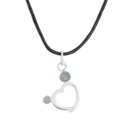 Jade pendant necklace, 'Ancestral Heart' - Heart-Shaped Apple Green Jade Pendant Necklace