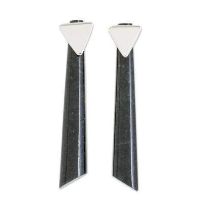 Jade drop earrings, 'Shooting Triangles' - Triangular Dark Green Jade Drop Earrings from Guatemala