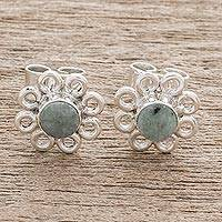 Jade stud earrings, 'Curly Petals' - Jade Stud Earrings with Circle Motifs from Guatemala