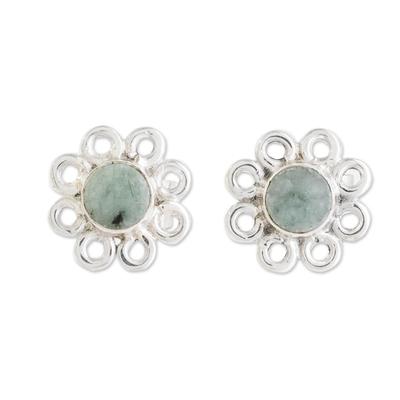 Jade stud earrings, 'Curly Petals' - Jade Stud Earrings with Circle Motifs from Guatemala