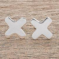 Sterling silver stud earrings, 'Cute X' - Sterling Silver X-Shaped Stud Earrings from Guatemala