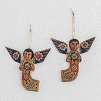 Wood wall ornaments, 'Flower Angels' (pair) - Hand-Painted Wood Angel Wall Ornaments from Guatemala (Pair)