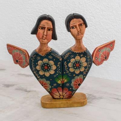 Wood decorative accent, 'Angelic Union' - Romantic Angel-Themed Wood Decorative Accent from Guatemala