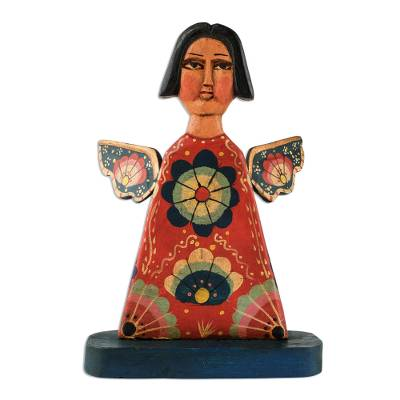 Wood decorative accent, 'Angelic Flowers' - Hand-Painted Wood Angel Decorative Accent from Guatemala