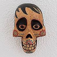 Wood mask, 'Afterlife Friend' - Pinewood Grinning Skull Mask Crafted in Guatemala