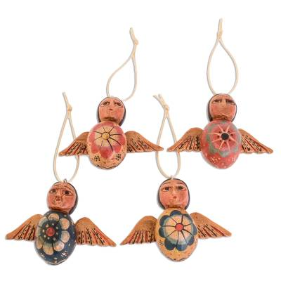 Wood ornaments, 'Angels of the Sky' (set of 4) - Hand-Painted Floral Wood Angel Ornaments (Set of 4)