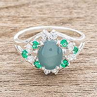 Jade cocktail ring, 'Brilliant Verdant' - Oval Jade and CZ Cocktail Ring Crafted in Guatemala