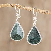 Jade dangle earrings, 'Dark Green Dimensional Drops'