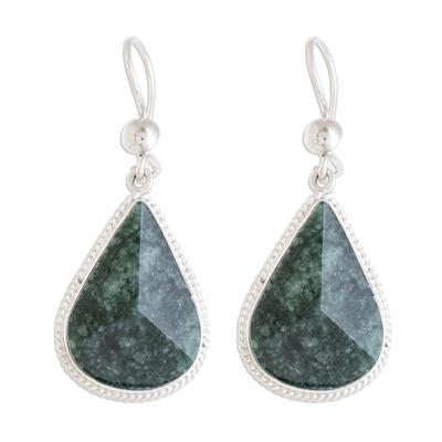 Jade dangle earrings, 'Dark Green Dimensional Drops' - Drop-Shaped Dark Green Jade Dangle Earrings from Guatemala