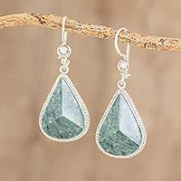 Jade dangle earrings, 'Green Dimensional Drops' - Drop-Shaped Green Jade Dangle Earrings from Guatemala