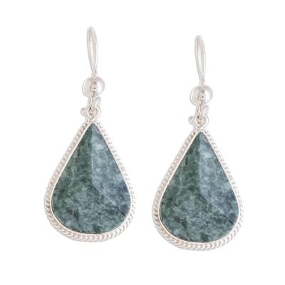 Jade dangle earrings, 'Green Dimensional Drops' - Drop-Shaped Green Jade Dangle Earrings from Guatemala