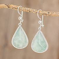 Jade dangle earrings, 'Apple Green Dimensional Drops' - Drop-Shaped Apple Green Jade Dangle Earrings from Guatemala