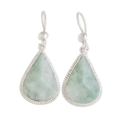 Jade dangle earrings, 'Apple Green Dimensional Drops' - Drop-Shaped Apple Green Jade Dangle Earrings from Guatemala