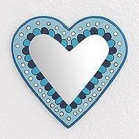 Wood wall mirror, 'Blue Heart' - Blue Heart-Shaped Wood Wall Mirror from Guatemala
