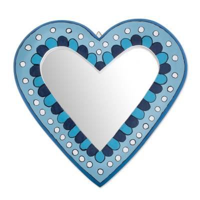 Blue Heart-Shaped Wood Wall Mirror from Guatemala