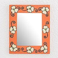 Wood wall mirror, 'Flowers of the Field' - Cheerful Orange Floral Wood Wall Mirror