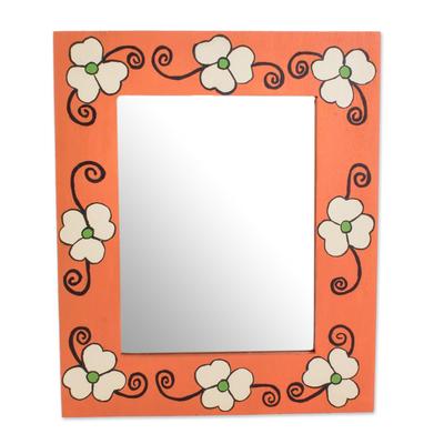 Cheerful Orange Floral Wood Wall Mirror