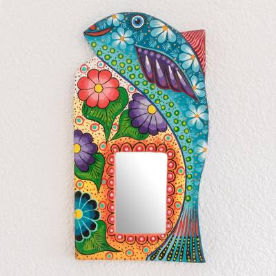 Wood wall mirror, 'Under the Sea' - Hand-Painted Fish-Themed Wood Wall Mirror from Guatemala