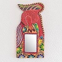 Wood wall mirror, 'Bird of Paradise' - Hand-Painted Bird-Themed Wood Wall Mirror from Guatemala