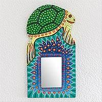 Wood wall mirror, 'Sea Turtle Reflection' - Sea Turtle-Themed Wood Wall Mirror from Guatemala
