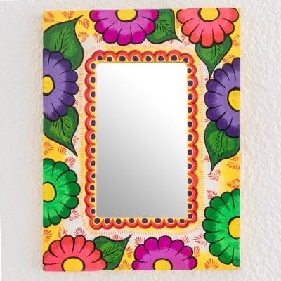 Wood wall mirror, 'Floral Gaze' - Colorful Floral Wood Wall Mirror from Guatemala