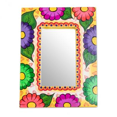 Colorful Floral Wood Wall Mirror from Guatemala