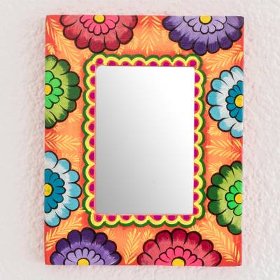 Wood wall mirror, 'Floral Reflection in Orange' - Artisan Crafted Floral Wood Wall Mirror from Guatemala