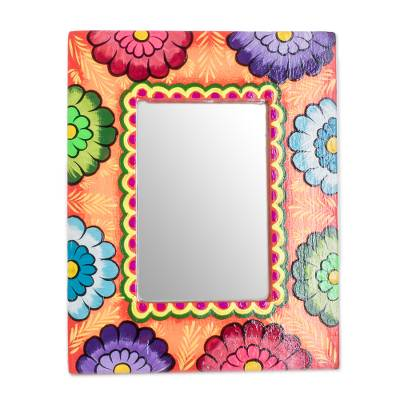 Artisan Crafted Floral Wood Wall Mirror from Guatemala