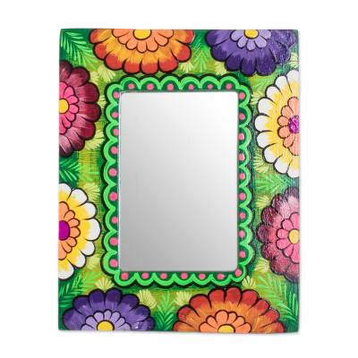 Floral Wood Wall Mirror in Green from Guatemala