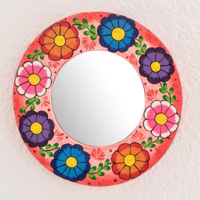 Wood wall mirror, 'Floral Delight' - Round Floral Wood Wall Mirror in Pink from Guatemala