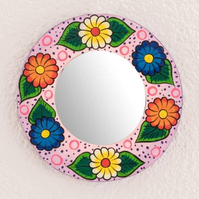 Wood wall mirror, 'Floral Energy' - Round Floral Wood Wall Mirror in Purple from Guatemala