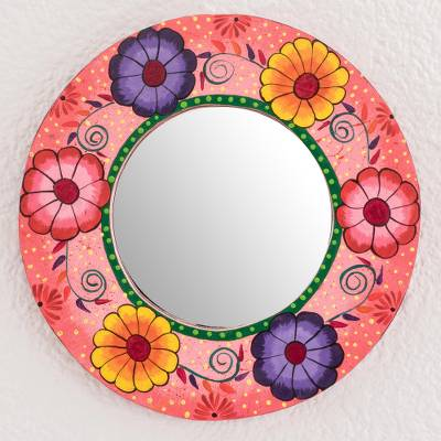 Wood wall mirror, 'Lovely Bouquet' - Round Hand-Painted Floral Wood Wall Mirror from Guatemala