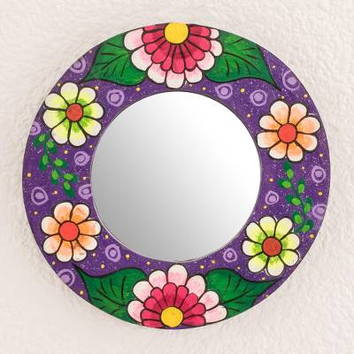 Wood wall mirror, 'Colorful Bouquet' - Round Floral Wood Wall Mirror in Purple from Guatemala