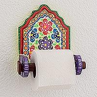 Wood toilet paper holder, 'Floral Essence' - Hand-Painted Floral Wood Toilet Paper Holder from Guatemala