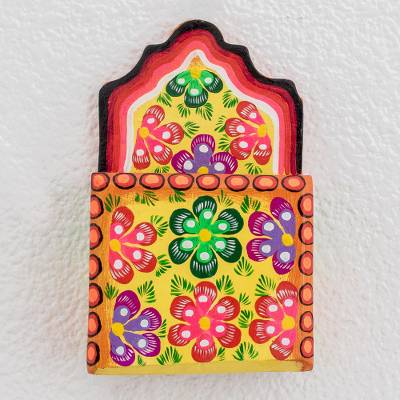 Wood mail holder, 'Floral Message' - Hand-Painted Floral Wood Mail Holder Crafted in Guatemala