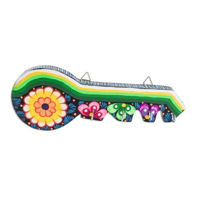 Wood key holder, 'Floral Key' - Hand-Painted Floral Wood Key Holder from Guatemala