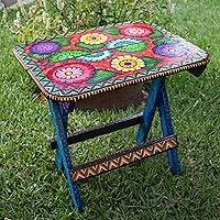 Hand painted wood folding table, 'Afternoon in the Garden' - Hand Painted Floral Folding Table from Guatemala